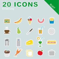 20 Icons Ernährung bunt
