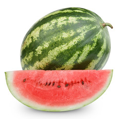 Watermelon isolated on white background + Clipping Path