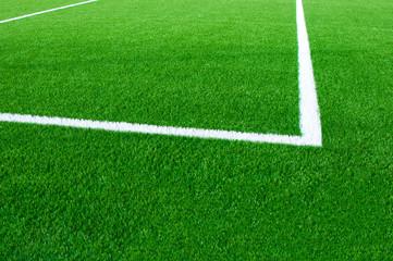 Football field fragment close up