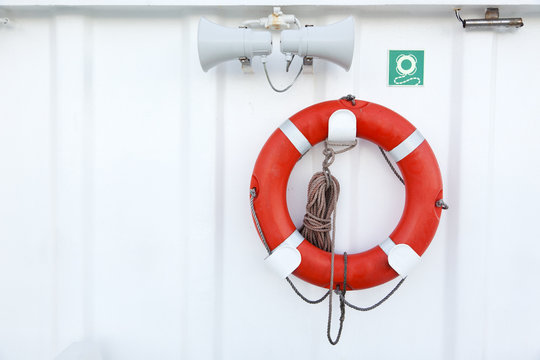 lifebuoy on ship