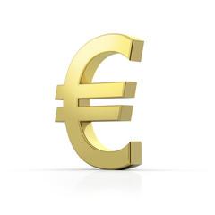 Goldenes Euro Symbol auf weißem Hintergrund