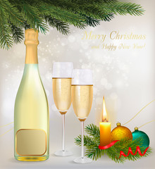 Holiday background with two glasses of champagne