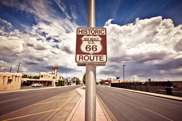 Photo on textile frame Route 66 Historic route 66 route sign