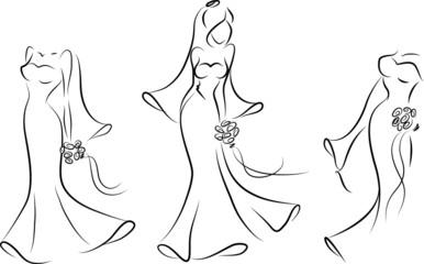 Силуэт невесту в свадебном платье, фон