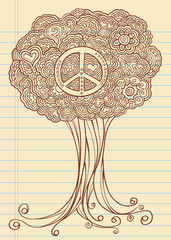 Doodle Sketch Henna Tree Vector Illustration