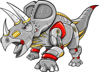 Poster Cartoon draw Robot Cyobrg Triceratops Dinosaur Vector Illustration