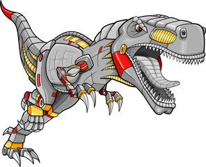 Foto auf Acrylglas Cartoon draw Robot Cyborg Tyrannosaurus Dinosaur Vector Illustration