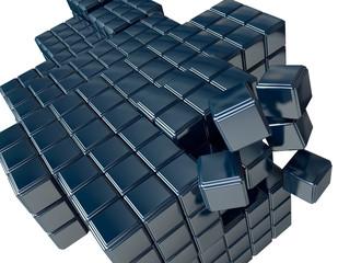 3D Metallic Cubes Background