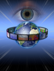 Eye watches earth film