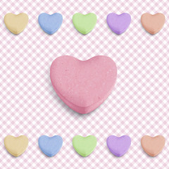 Sfondo con caramelle a cuore -Candy heart background