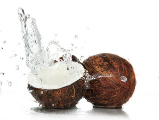 Wall Mural - cracked coconut with splashing water