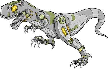 Robot Tyrannosaurus Dinosaur Vector Illustration