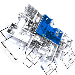 Green apartment mockup on blueprints