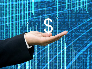 Businessman take profits with abstract digital data background