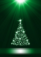 Christmas tree made of stars against green background