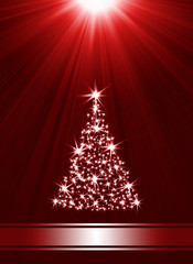 Christmas tree made of stars against red background