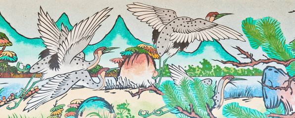 group of bird painting on chinese temple wall