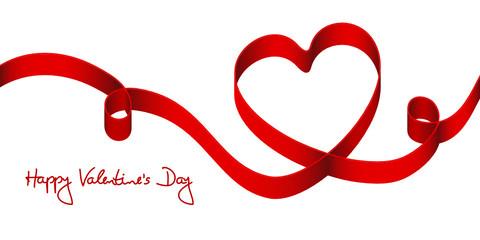"""Satin Bow Red Heart & 2 Swirls """"Happy Valentine´s Day"""""""
