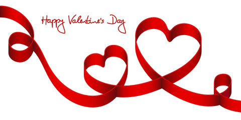 "Satin Bow 2 Red Hearts & 2 Swirls ""Happy Valentine´s Day"""