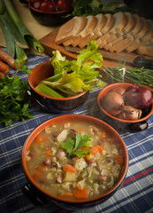 Minestrone di verdure e legumi - soup of vegetables and legumes