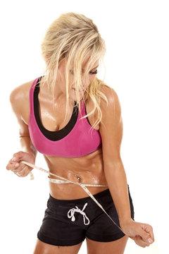 Woman sweaty tape waist
