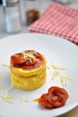Polenta with sausage sauce