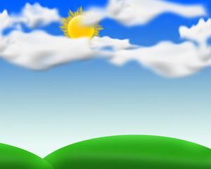 Tree, sun, clouds in the open field.