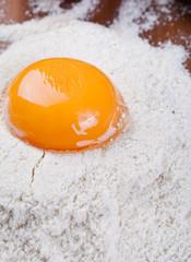 Egg yolk on flour