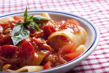paccheri with tomato sauce