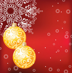 Red elegant Christmas background with decoration balls