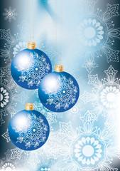 Elegant Christmas background with bluel decoration balls