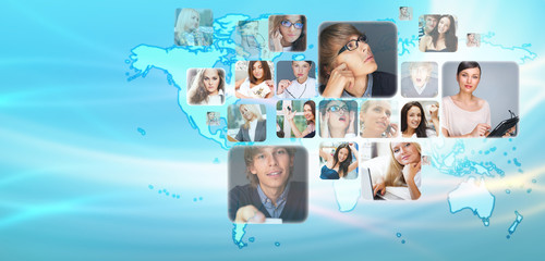 Graphic design background. World map and photo of different peop