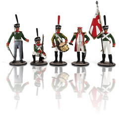 Russian soldiers since Napoleon on a white background