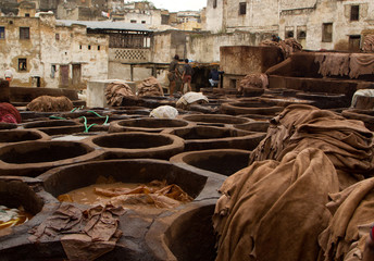 Morocco Fez Tannery close up view