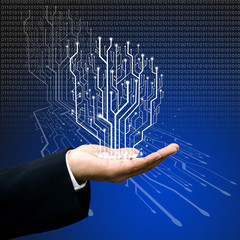 Circuit board graphic line on hand ,Technology background