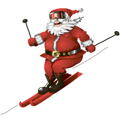 Skiing Santa isolated