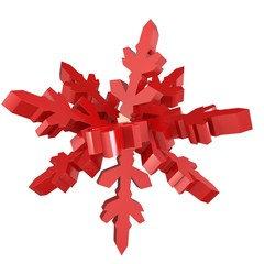3d snowflake made of red metal