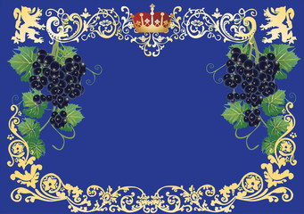 gold frame with dark grapes
