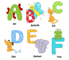 Alphabet from A to F