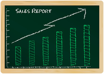 Sales report on a chalk board, vector illustration