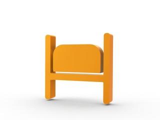 3d Icon Einzelzimmer orange