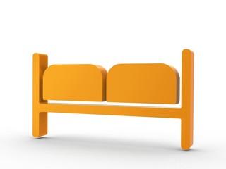 3d Icon Doppelzimmer orange