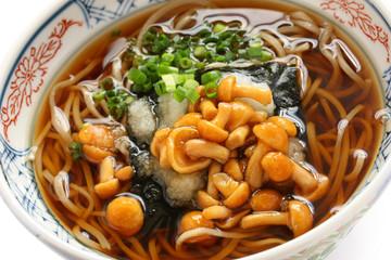 nameko soba, japanese buckwheat noodle cuisine