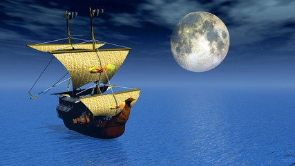 ship 3d with moon background