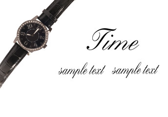 Beautiful wrist watch over white background.