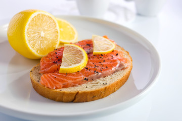 sandwich with salmon.