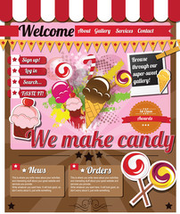 Website template elements, vintage, sweets