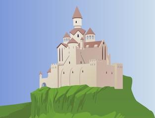 Printed kitchen splashbacks Castle Cartoon castle on a rock