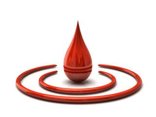 3D illustration of red drop