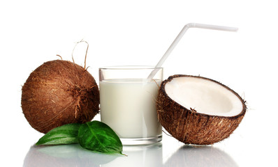 Coconut milk and coconut isolated on white